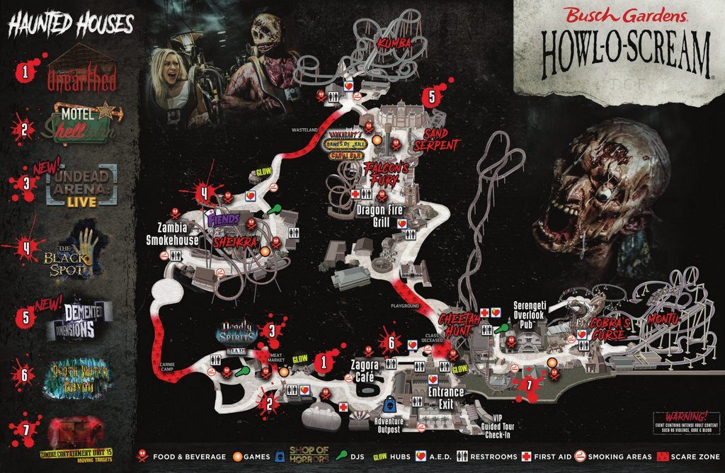 ... At Busch Garden Tampa Bay Has In Store For Guests, Including A Look At  Each Of The Houses, All The Scare Zones, Plus Dining, Evil Upgrades, And  More!