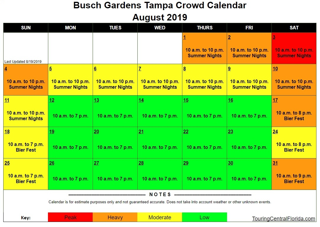 Busch Gardens Tampa Crowd Calendar August 2019 Update 1 - Busch Gardens Tampa Crowd Calendar 2016