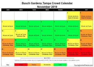 Busch Gardens Tampa Crowd Calendar November 2019 300x215 - Busch Gardens Tampa Crowd Calendar 2016
