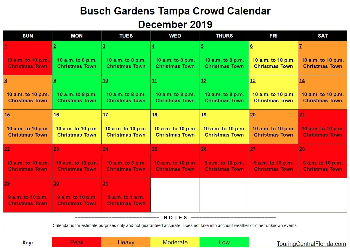 Busch Gardens Tampa Crowd Calendar December 2019 - Busch Gardens Tampa Crowd Calendar 2016