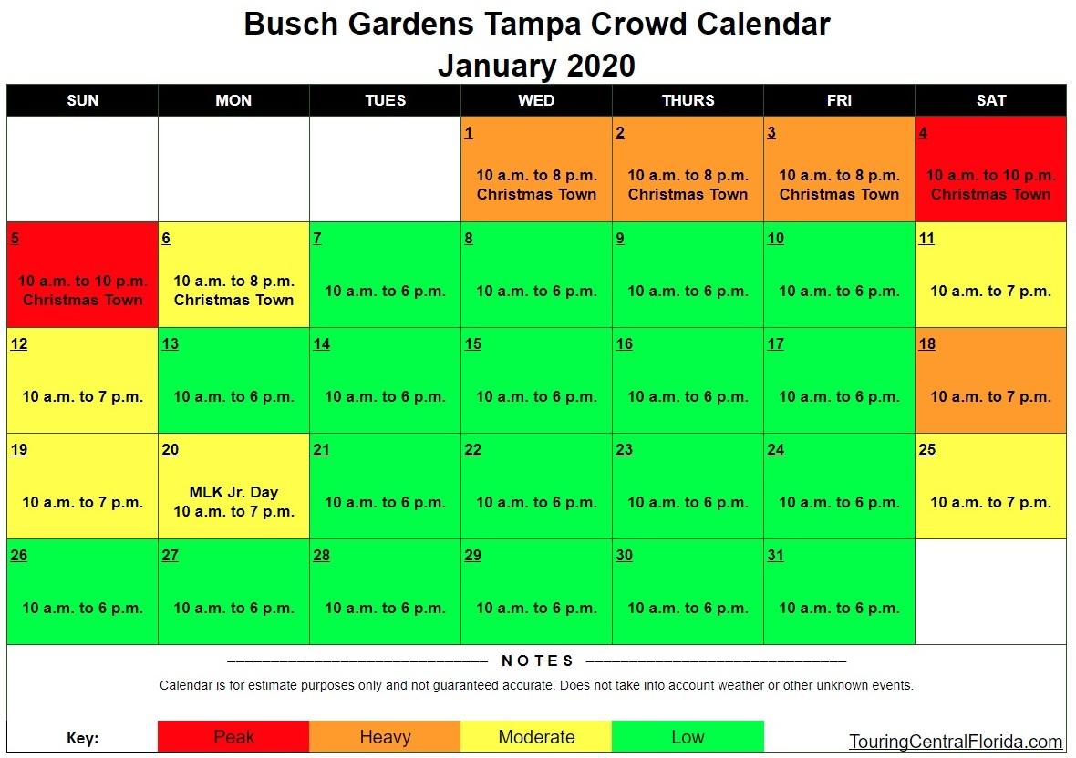 Busch Gardens Tampa Crowd Calendar 2022.Busch Gardens Tampa Crowd Calendar January 2020 Touring Central Florida