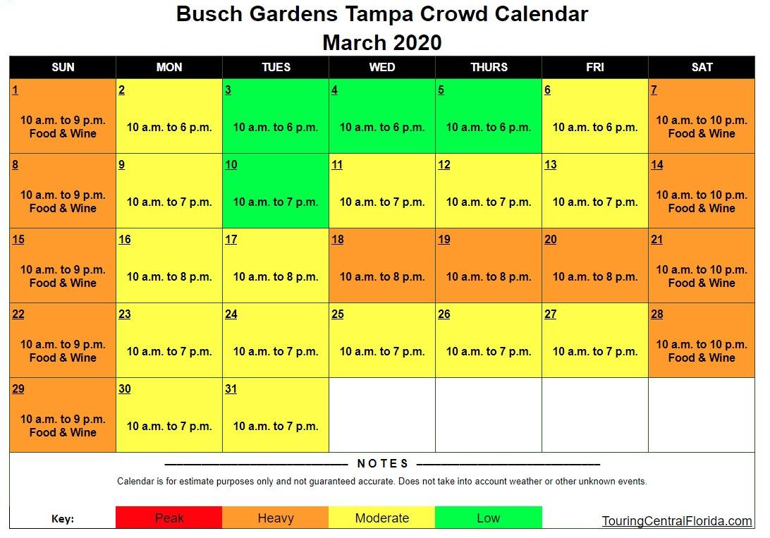 Busch Gardens Tampa Crowd Calendar March 2020 - Busch Gardens Tampa Crowd Calendar 2016