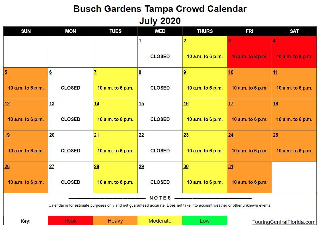 Busch Gardens Tampa Crowd Calendar July 2020 - Busch Gardens Tampa Crowd Calendar 2016