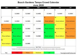 Busch Gardens Tampa Crowd Calendar June 2020 300x215 - Busch Gardens Tampa Crowd Calendar 2016