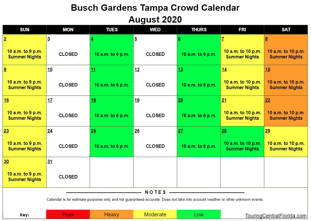 Busch Gardens Tampa Crowd Calendar 2022.Busch Gardens Tampa Crowd Calendar August 2020 002 Touring Central Florida