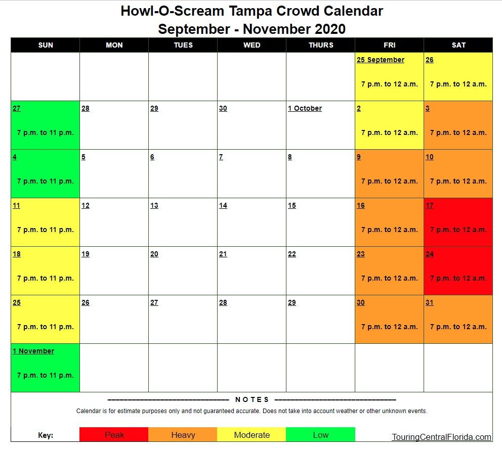 Howl O Scream 2020 Crowd Calendar - Busch Gardens Tampa Crowd Calendar 2016