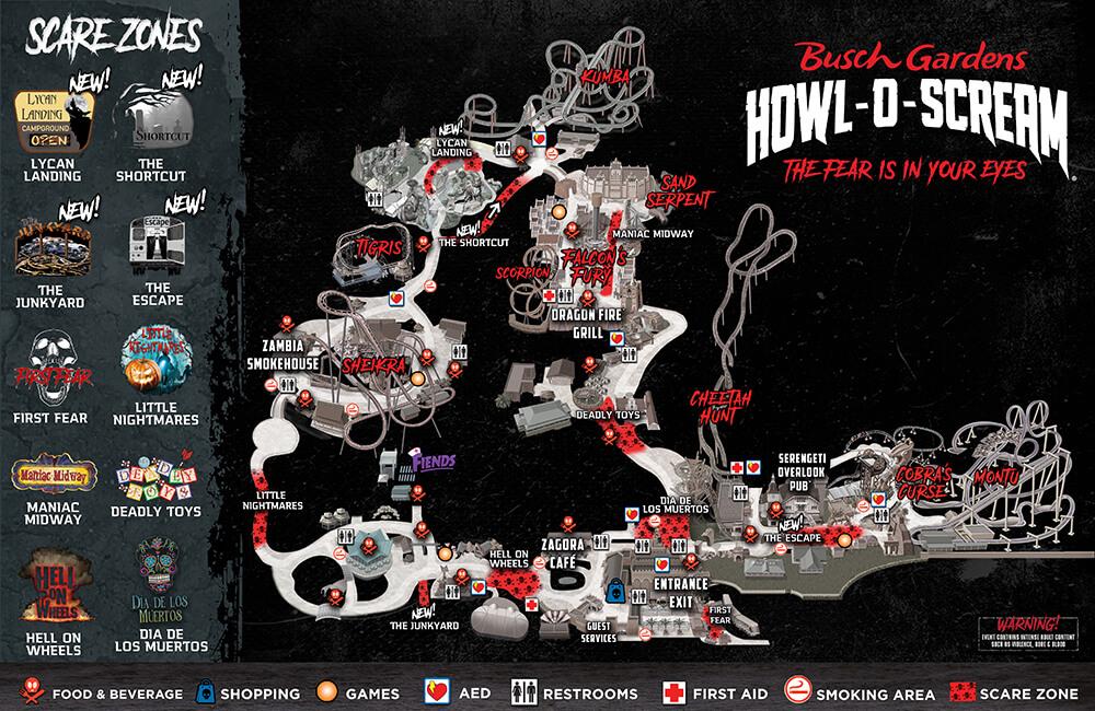 Howl O Scream 2020 Map Low Resolution - Busch Gardens Howl O Scream What Rides Open
