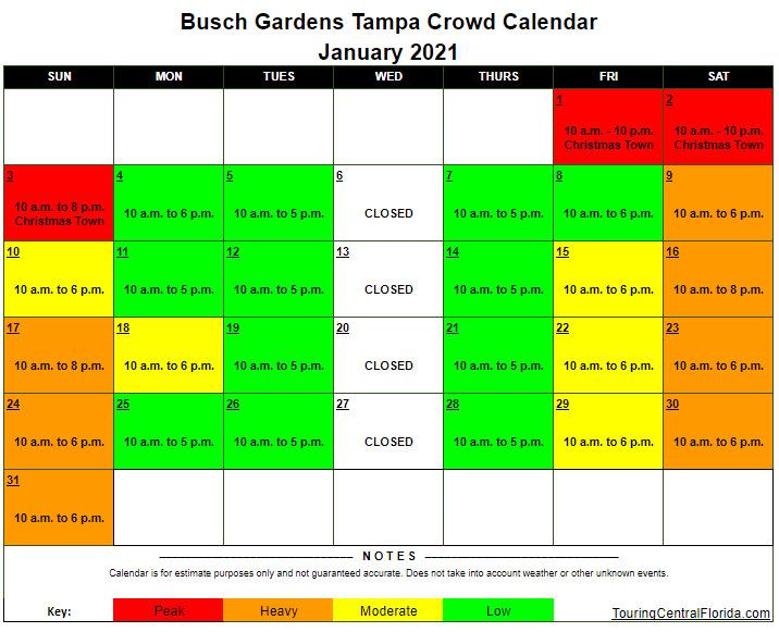 Busch Gardens Tampa Crowd Calendar January 2021 - Busch Gardens Tampa Crowd Calendar 2016