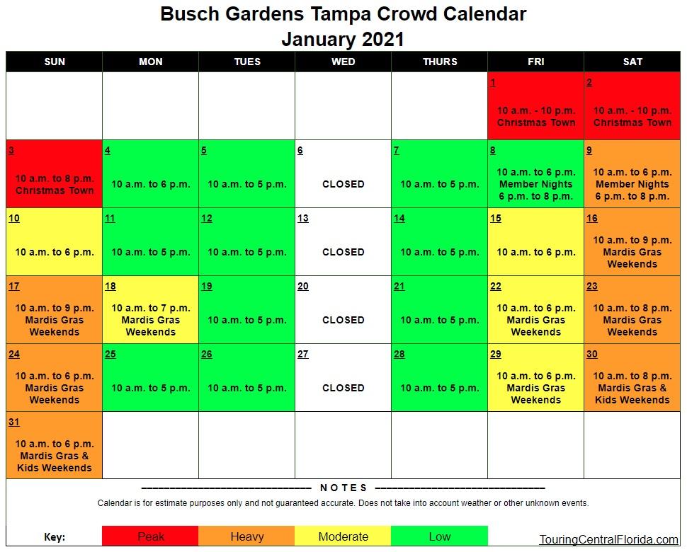 Busch Gardens Tampa Crowd Calendar 2022.Busch Gardens Tampa Crowd Calendar January 2021 003 Touring Central Florida