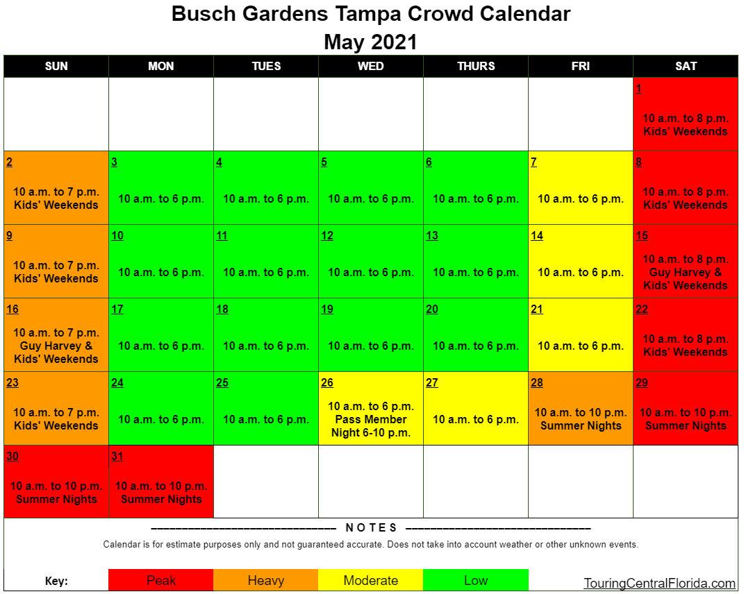 Busch Gardens Tampa Crowd Calendar 2022.Busch Gardens Tampa Crowd Calendar Touring Central Florida